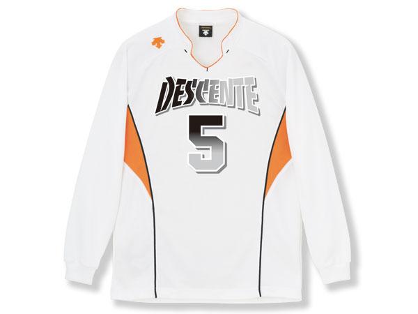 DESCENTE 長袖ゲームシャツ (バレーボール ゲームウェアー メンズゲームシャツ)ホワイト×オレンジ(WOR)【スポーツ用品 > チーム スポーツ > バレーボール】【DESCENTE/デサント】/DSS-4813