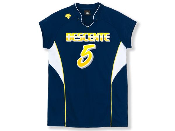 DESCENTE フレンチスリーブゲームシャツ (バレーボール ゲームウェアー メンズゲームシャツ)ネイビー×ホワイト(NVY)【スポーツ用品 > チーム スポーツ > バレーボール】【DESCENTE/デサント】/DSS-4833