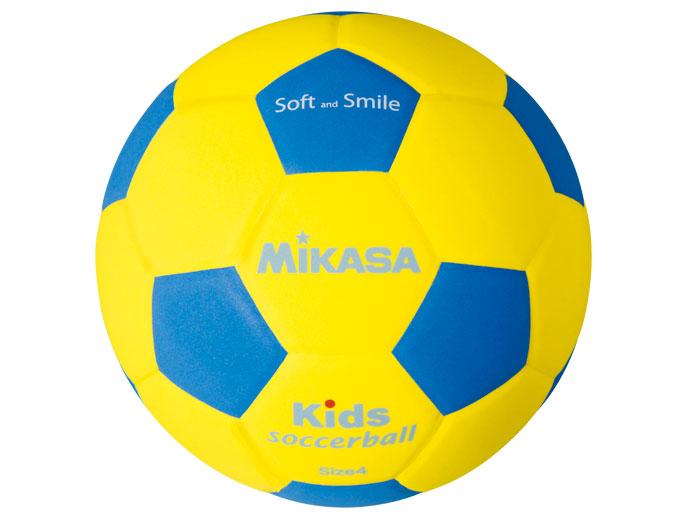 MIKASA キッズサッカー軽量4号 (フットサル&サッカー ボール サッカーボール4号球)イエロー×ブルー【スポーツ用品 > チーム スポーツ > サッカー】【MIKASA/ミカサ】/SF4