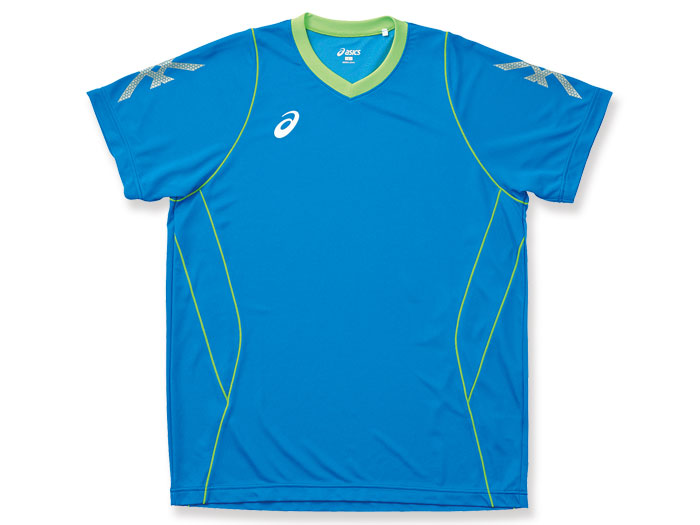 ASICS プラシャツHS (バレーボール プラクティスウェアー メンズ半袖Tシャツ)Iブルー×FG(44FG)【スポーツ用品 > チーム スポーツ > バレーボール】【ASICS/アシックス】/XW601L