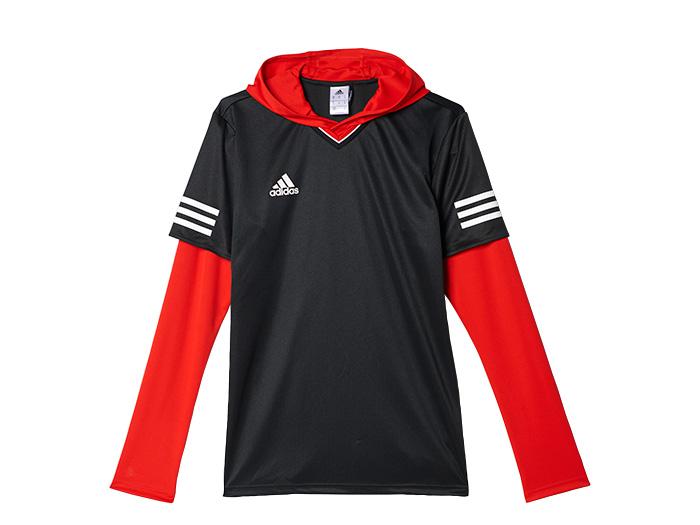 adidas TANGO CAGE レイヤリングシャツ (フットサル&サッカー プラクティスウェアー 長袖プラシャツ)ブラック/レッド【スポーツ用品 > チーム スポーツ > サッカー】【adidas/アディダス】/B47658
