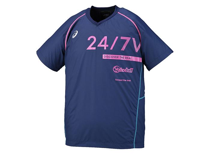 ASICS ウォームアップシャツHS (バレーボール プラクティスウェアー メンズ半袖Tシャツ)インディゴブルー(49)【スポーツ用品 > チーム スポーツ > バレーボール】【ASICS/アシックス】/XWW623